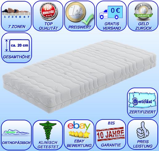 7 zonen matratze 90x200 premium coolmax orthop dische visco kaltschaum h he 20 ebay. Black Bedroom Furniture Sets. Home Design Ideas