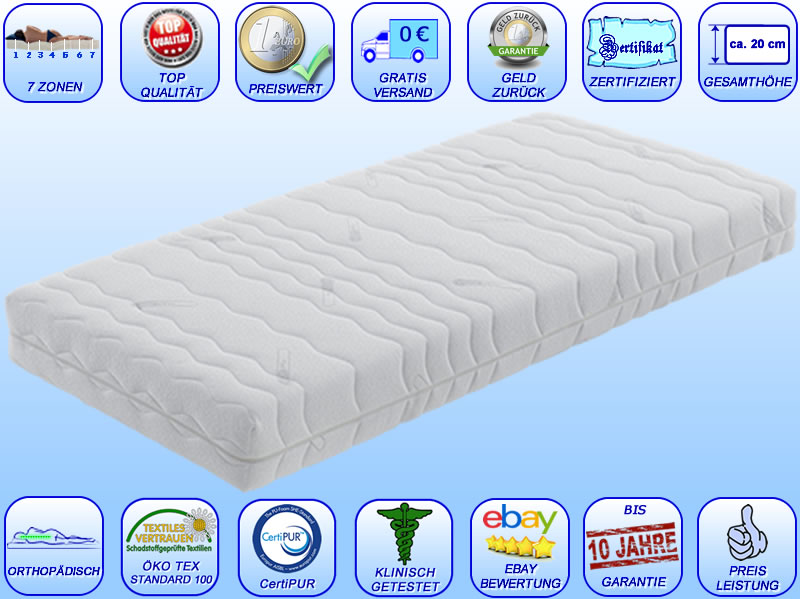 7 zonen premium orthop dische visco kaltschaum coolmax matratze h he ca 20 neu ebay. Black Bedroom Furniture Sets. Home Design Ideas